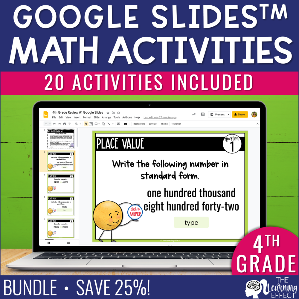 4th Grade Math Google Slides Digital Math Activity BUNDLE