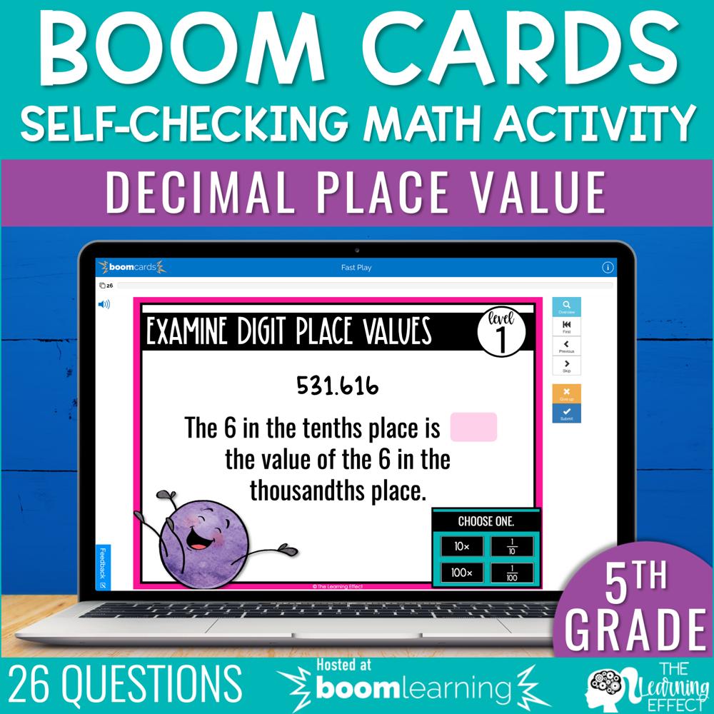 Decimal Place Value Boom Cards | 5th Grade Digital Math Activity