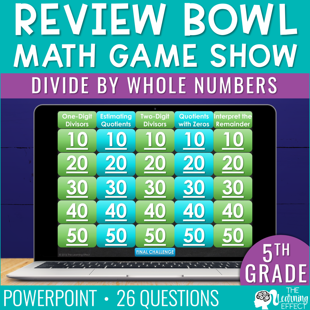 Divide by Whole Numbers Game Show | 5th Grade Math