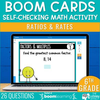 Ratios and Rates Boom Cards | 6th Grade Digital Math Activity