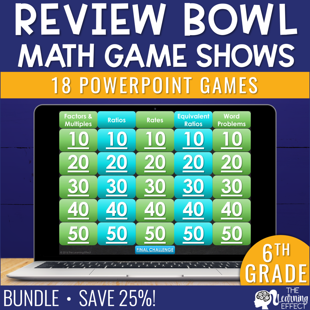 6th Grade Math Game Show Review BUNDLE