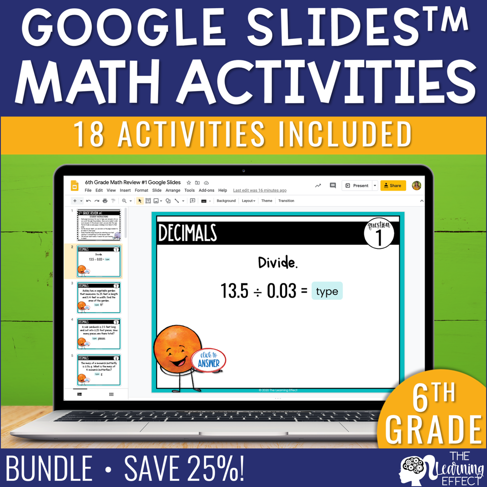 6th Grade Math Google Slides Digital Math Activity BUNDLE
