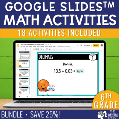 6th Grade Math Google Slides Digital Math Activity BUNDLE