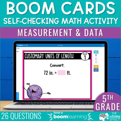 Measurement and Data Boom Cards   5th Grade Digital Math Activity