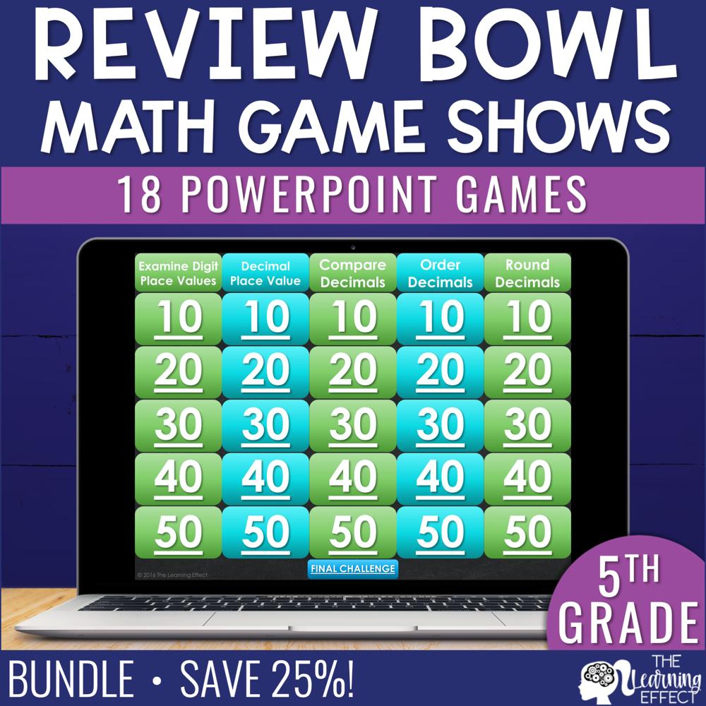 5th Grade Math Game Show Review BUNDLE