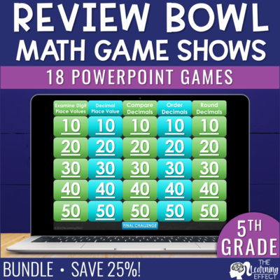 5th Grade Math Game Show Review BUNDLE