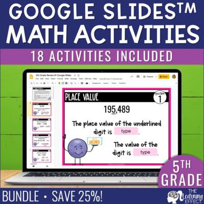5th Grade Math Google Slides Digital Activity BUNDLE