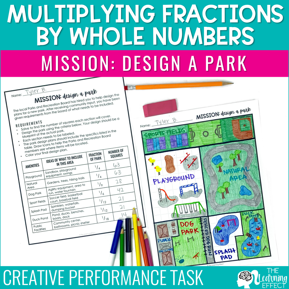 Multiply Fractions by Whole Numbers Activity | Math Project Based Learning PBL