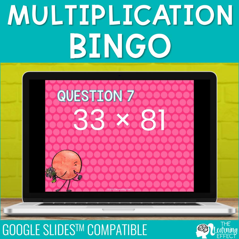 Multiplication Bingo Game for Google Slides | Digital Math Activity