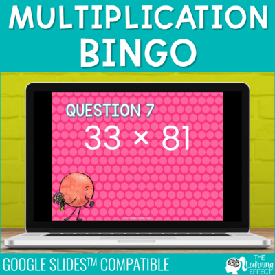Multiplication Bingo Game for Google Slides | Digital Math Activity