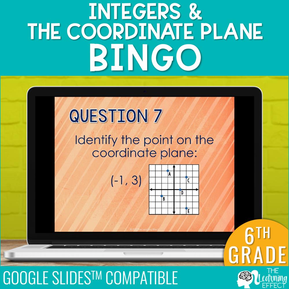 Integers & the Coordinate Plane Bingo Game Google Slides | Digital Math Activity