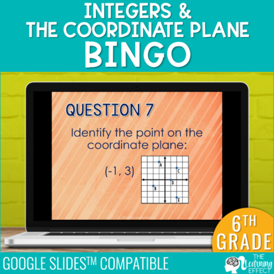 Integers & the Coordinate Plane Bingo Game Google Slides | Digital Math Activity