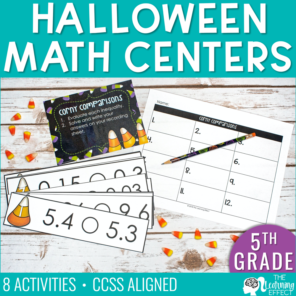 Halloween Math Centers for 5th Grade