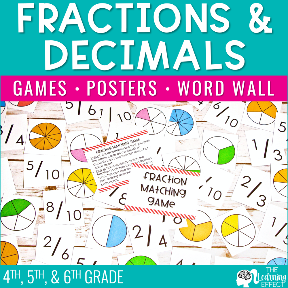 Fractions and Decimals | Games Posters Word Wall
