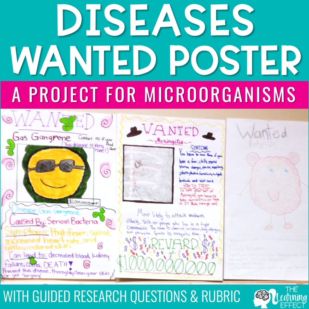 Disease Research Project and Wanted Poster for Microorganisms