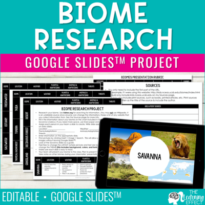 Biome Ecosystem Research for Google Slides Project and Presentation