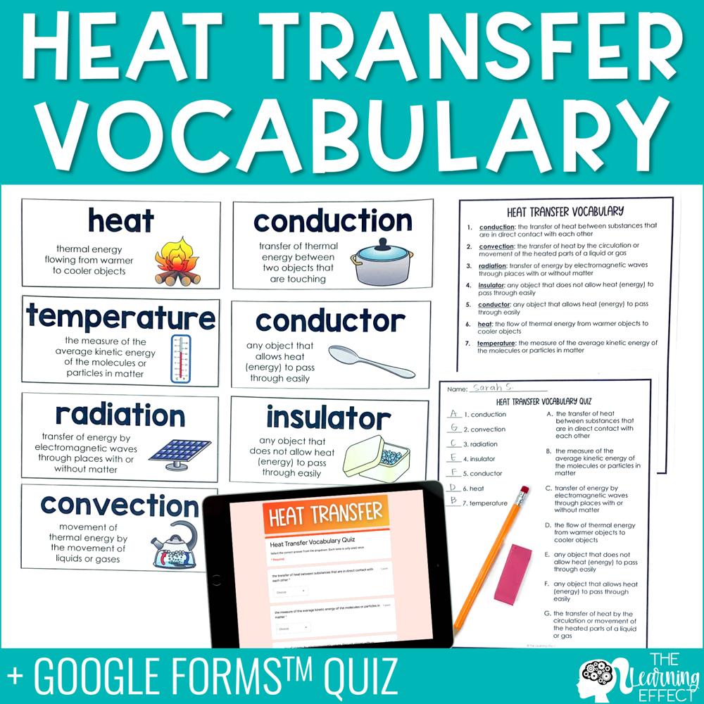 Heat Transfer Vocabulary | Word Wall Quiz Digital Google Form