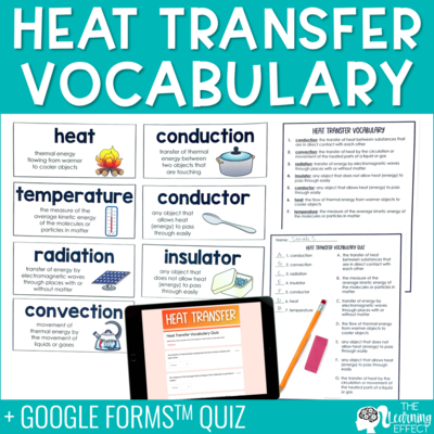 Heat Transfer Vocabulary | Word Wall Quiz Digital Google Form