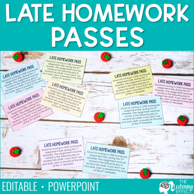 Late Homework Passes | Editable