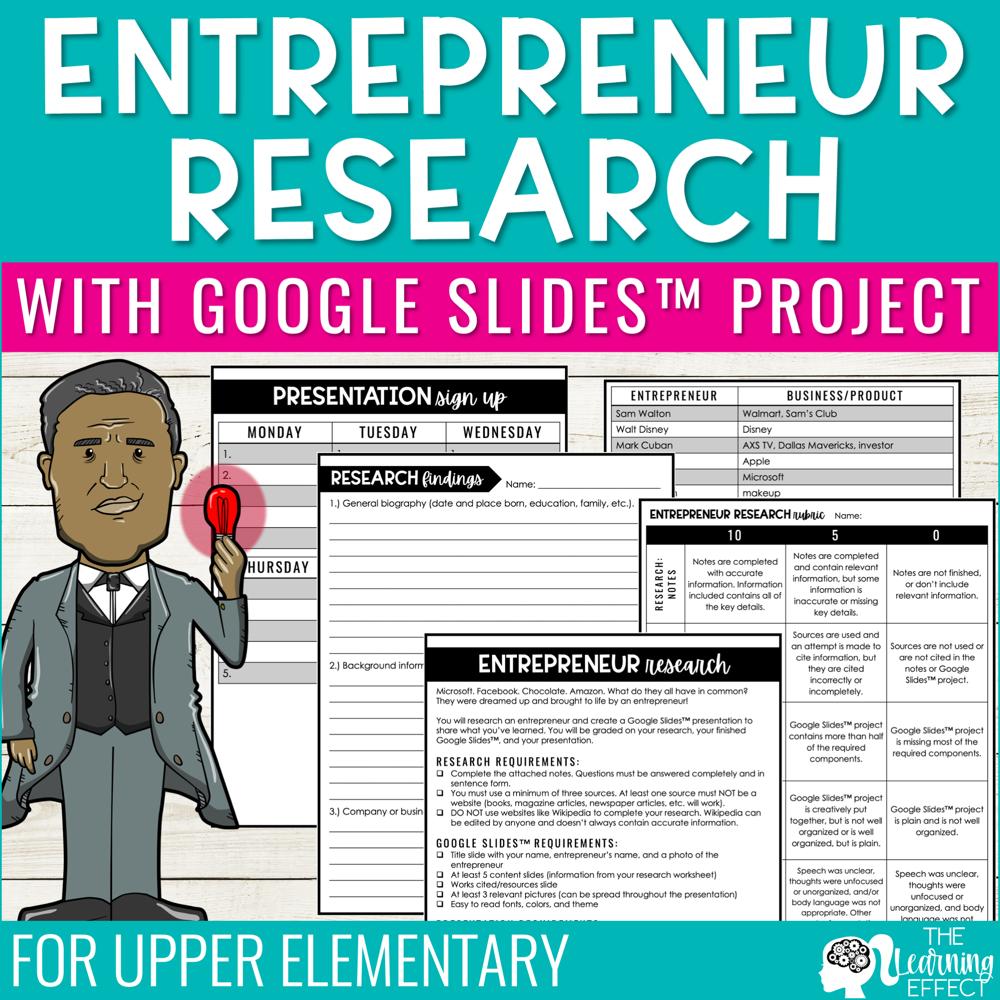 Entrepreneur Research Project with Google Slides Presentation