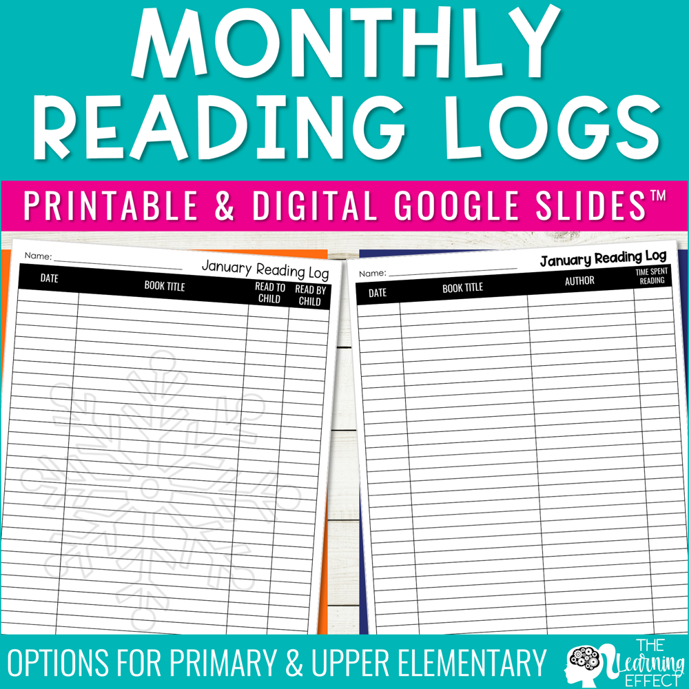 Monthly Reading Logs | Printable and Digital