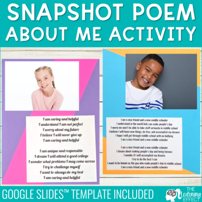 Student Snapshot Poem About Me Activity | Digital Google Slides