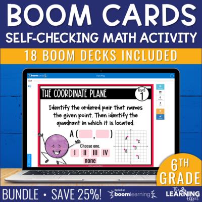 6th Grade Math Boom Cards Digital Activity BUNDLE