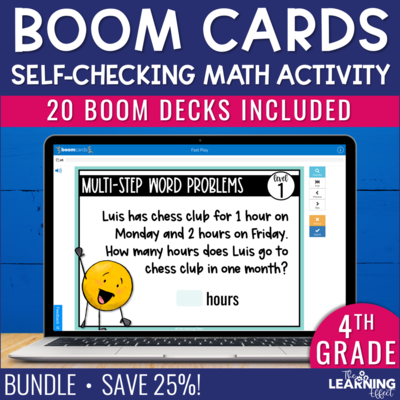 4th Grade Math Boom Cards Digital Activity BUNDLE