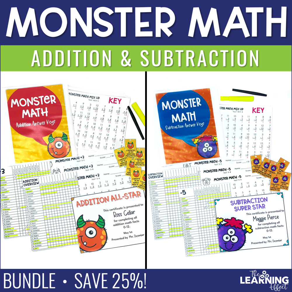 Fact Fluency Addition and Subtraction Timed Tests BUNDLE