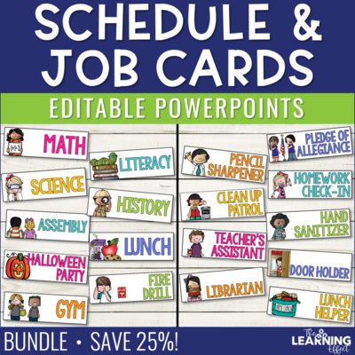 Visual Schedule Cards and Classroom Jobs Editable BUNDLE