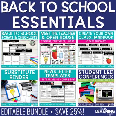 Back to School Forms, Printables, Checklists, Templates Editable BUNDLE