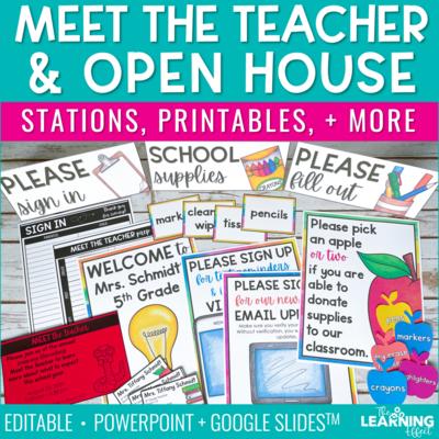 Meet the Teacher Open House Stations and Printables | Editable
