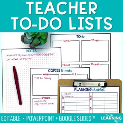 Teacher To Do Lists Editable | Print and Digital Google Slides