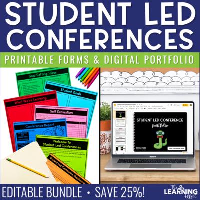 Student Led Conference Printable Forms & Digital Portfolio BUNDLE | Editable