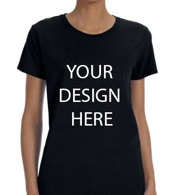 Gildan Ladies' Black Heavy Cotton 5.3oz  T-Shirt with your Custom Design