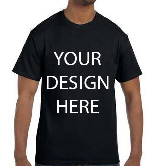 Gildan Men's Black  Heavy Cotton 5.3oz Tshirt with your Custom Design
