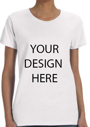 Gildan Ladies' White Heavy Cotton 5.3oz Tshirt with your Custom Design