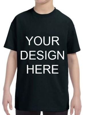 Gildan Youth Black Heavy Cotton 5.3oz Tshirt with your Custom Design