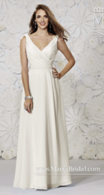 Simply Elegant Wedding Dress- V-Neck A-Line Bridal Gown- Size 8 and 4