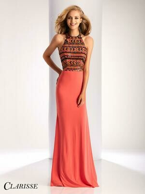 Colorful Coral Gown- Size 6- Clarisse 2181- Geometric Colorful Evening Dress