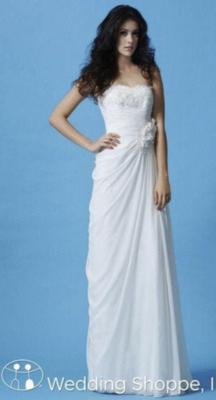 Luxe Chiffon & Satin Wedding Gown- Destination Wedding Dress- Strapless Wedding Gown Size 10