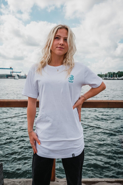 SANDHAFEN T-Shirt long (weiß+türkis)