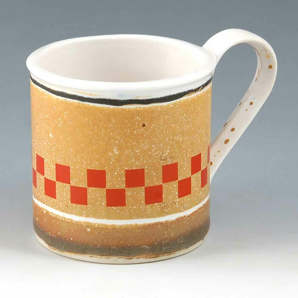 Mug - Porcelain Tea Mugs - Art Deco checker board graphic - Tin Cup Design