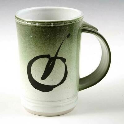 Mug - Green Demi-Size Mug Set. Fired-in brush stroke. Porcelain