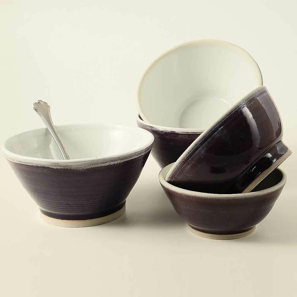 Bowls - Kitchen bowl set of 5 - Porcelain, Eggplant Purple.