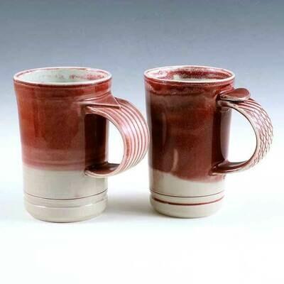 Mug - Ruby Red Demi Mug Set. Porcelain. One-of-a-kind set. Coffee or Juice!
