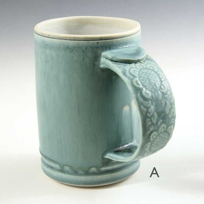 Mug - Beautiful Turquoise with textured Porcelain handles!