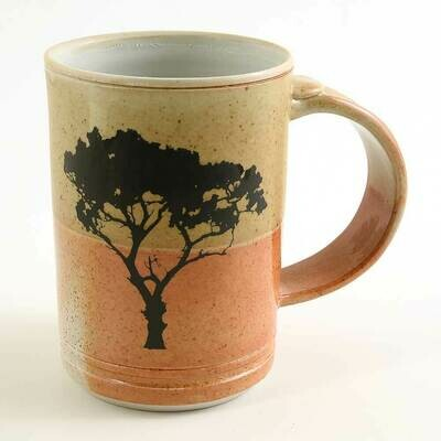 Mug - Tree silhouette fired into the glaze Porcelain!