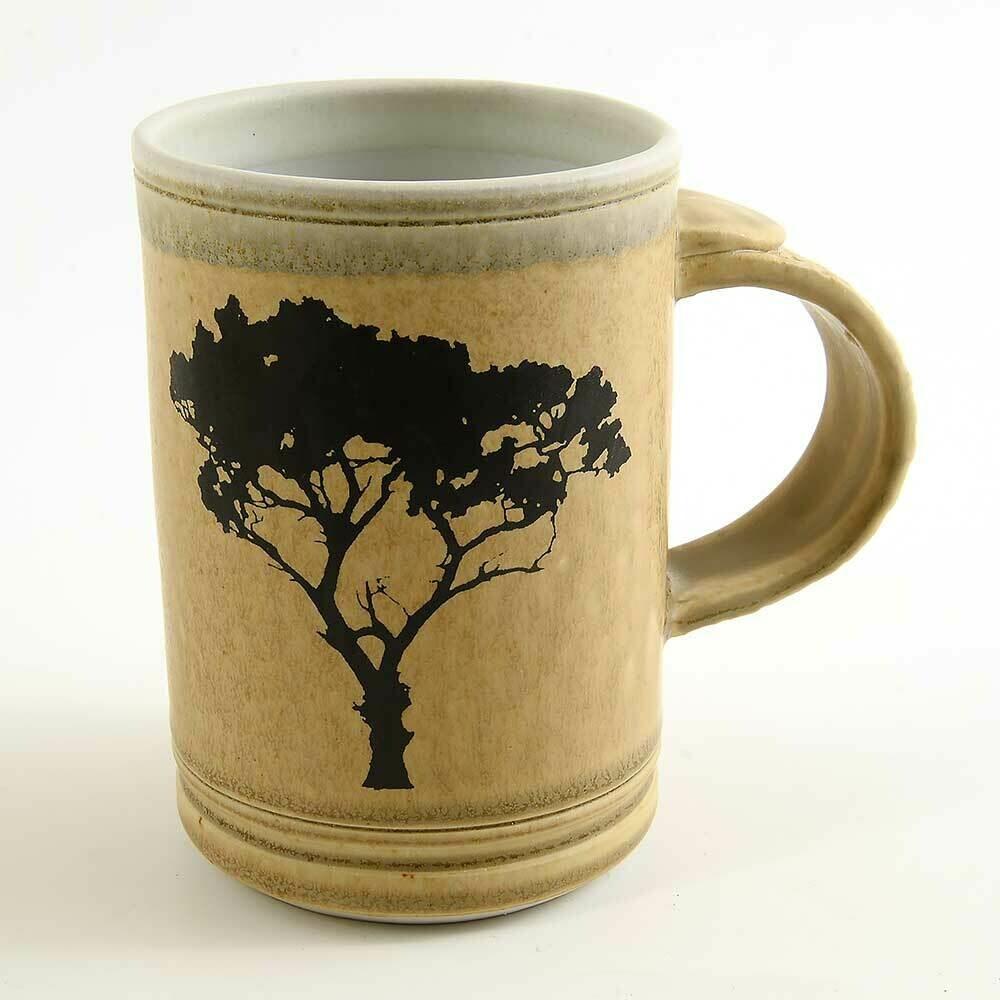 Mug - Tree silhouette fired into the glaze Porcelain