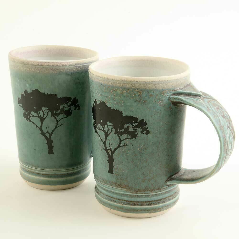 Mug - Set of Two Demi-size with Tree Motif. Beautiful Turquoise textured Porcelain handles!